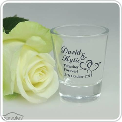 100 printed wedding shot glasses bomboniere favour